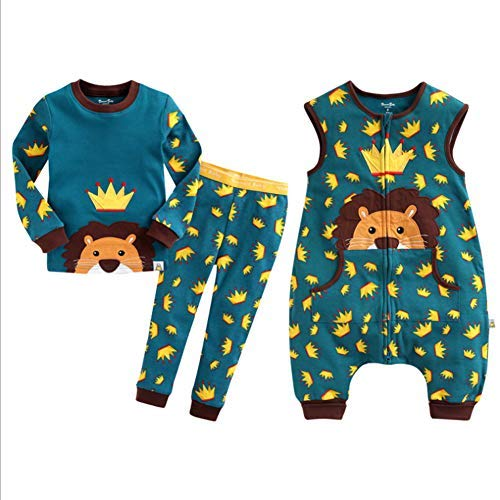 Löwe Alter Ein Kostüm Jahr - HB.YE Baby Schlafanzug Kinder Schlafsack mit Füßen Baumwolle Strampler Jungen Mädchen unisex warm Winter Cartoon (3-Stück - Löwe, M)