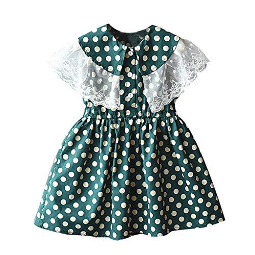 Livoral Mädchen Prinzessin Kleid Kind Baby Kind Spitze Patchwork Print Freizeitkleidung(Grün,130)