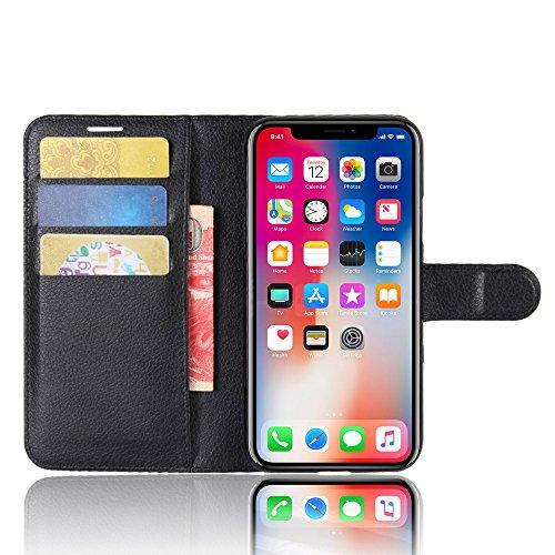Coque iPhone X, AVIDET Bookstyle Étui Housse en Cuir Case à rabat pour iPhone X étui case cover coque avec fonction de support et fente (Rouge) Noir