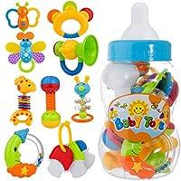 9pcs sonaglio sonaglio con forme divertenti e colori diversi, più scelta per il tuo bambino   Descrizione:   Nome: Baby sonaglio per sonar giocattoli  Materiale: plastica ABS, materiale atossico, senza BPA  Confezione: 9 pezzi giocattoli son...