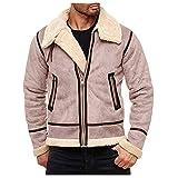 DNOQN Jacke Herren Herbst Winter Highneck Warm Liner Revers Leder Reißverschluss Outwear Top Coat Herren Jacke Herbst Sportliche Winterjacke Herren