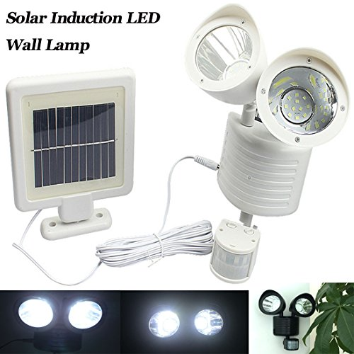 Preisvergleich Produktbild Solar Highlight LED Doppel Kopf Echthaar Induktion Strahler Sensor Solar Garten Gehweg Lampe (1Stück)