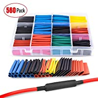 ‏‪Nilight 50005R Heat Shrink 2:1 Electric Insulation Tube Kit 45mm Flame Retardant Wrap Cable Sleeve 560pcs 5 Colors 12 Sizes with Storage Box 560pcs Heat Shrink 2:1 50005R‬‏