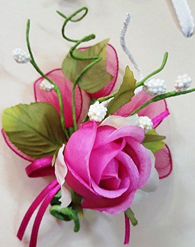 Set 12 pezzi, bomboniera fiore bouquet bocciolo + racchettine portaconfetti, confetti e bigliettini inclusi (ck2021bis) (fuxia)