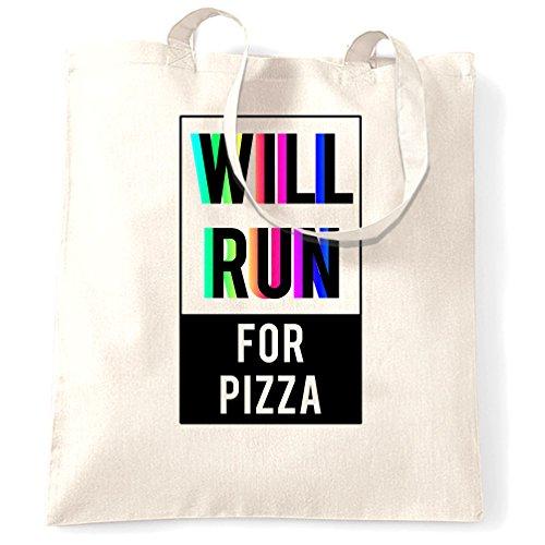 Correrà Per Pizza Stampata Slogan Preventivo Design Di Qualità Premium Borsa Bianca