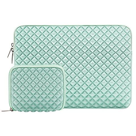 MOSISO Diamond Foam Water Repellent and Shock Resistant Lycra Laptop Sleeve Bag for 15-15.6 Inch MacBook Pro, Notebook Computer with Small Case, Mint