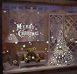 MISSDIVA Fensteraufkleber PVC Fensterbilder Weihnachten Fensterdeko selbstklebend Fensterfolie Fenstersticker Fenstertattoo Weihnachtsdekoration