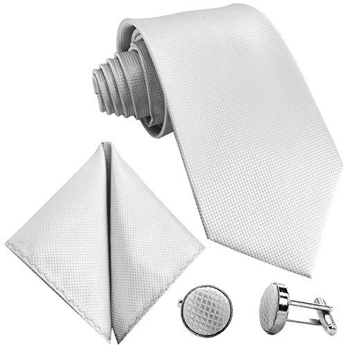 GASSANI 10cm Breite Herrenkrawatte Krawattenset Weisse Karo-Muster, Hochzeitskrawatte Herrenschlips Einstecktuch Manschettenknöpfe -