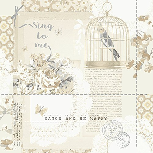Arthouse Sing to me Bird Muster Floral Motiv Metallic Silber Tapete Natural 671301 (Blue Floral Natural)