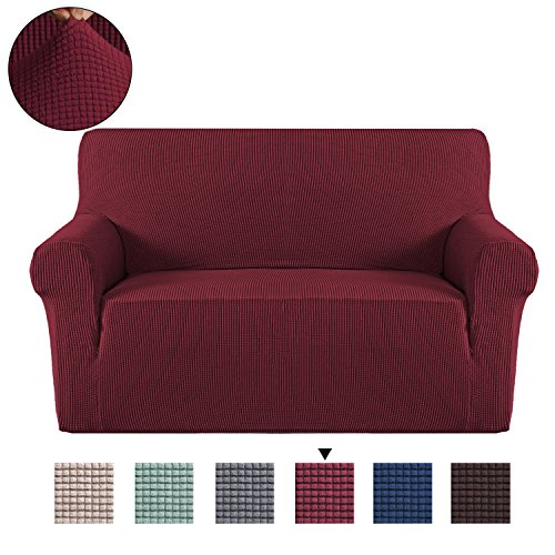 H. versailtex Elastic, Sofa Solid, rutschsicheren Displayschutzfolie Couch, Sessel Bettüberwurf Home Decor Stretch Sofa Bezug abnehmbar (für 1-Sitzer, grau), Textil, Wein, 2 Seater/Loveseat