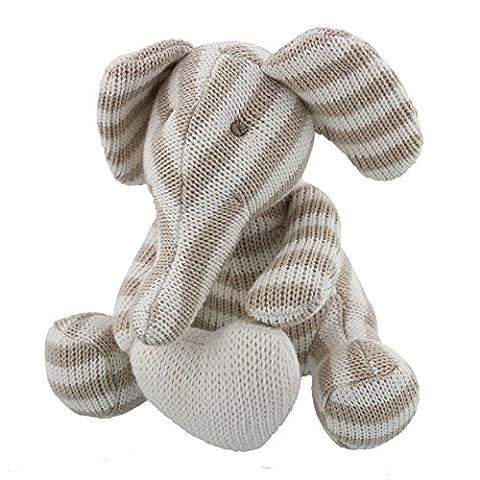 Belle éléphant en coton tricoté Bambino avec coeur Peluche bébé–Unisexe Gris à rayures