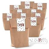 25 kleine braune Kreuzbodenbeutel 14 x 22 x 5,6 cm + 25 Banderolen 5 x 15 cm DANKE rot graue HERZEN - Papier-Tüten give-aways Mitgebsel Verpackung als Dankeschön für Gäste Kunden Freunde