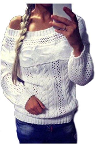 Zilcremo Frauen In Eleganten Langen Ärmel Boatneck Twist Pullover Lässig Strickjacke Pullover Stricken White XXL - Boatneck Strickjacke