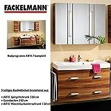 FACKELMANN Badmöbel Set Arte7 3-tlg. 110 cm zwetschge mit Waschtisch Unterschrank & Gussbecken & Spiegelschrank