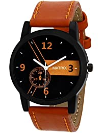 Matrix Casual Analogue Tan Leather Strap Multicolour Dial Men's Watch-WCH-170-NW