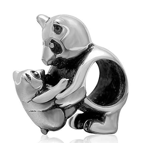 soulbead Antique en Argent Sterling 925maman et bébé panda européenne perle Charm pour bracelet chaîne serpent