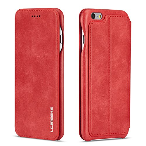 QLTYPRI iPhone 7 8 Hülle, Premium PU Leder Handyhülle Ultra Dünne Ledertasche Magnetverschluss Standfunktion & Kartensfach Wallet Case Flip Schutzhülle für iPhone 7 iPhone 8 - Rot