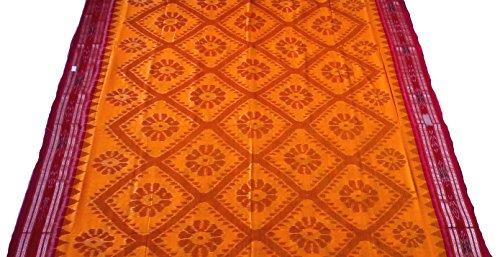 Sambalpuri Handloom Ikat cotton saree(Yellow with Maroon Anchal)