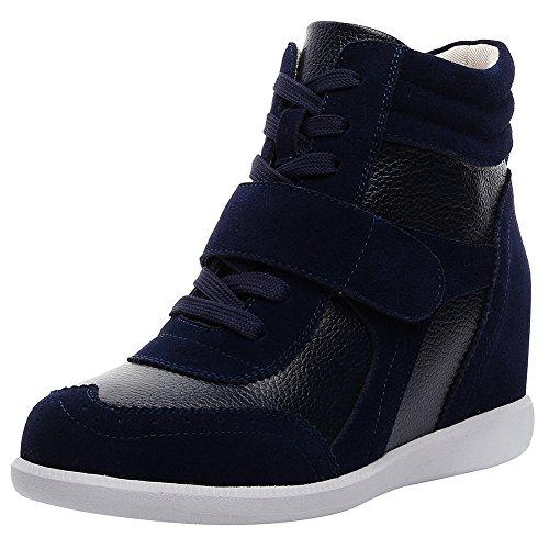 rismart Donna Tacco a Zeppa Hook&Loop Brogue Alto Cima Confortevole Elegante Sneaker Scarpe SN8599A(Marina,EU37)