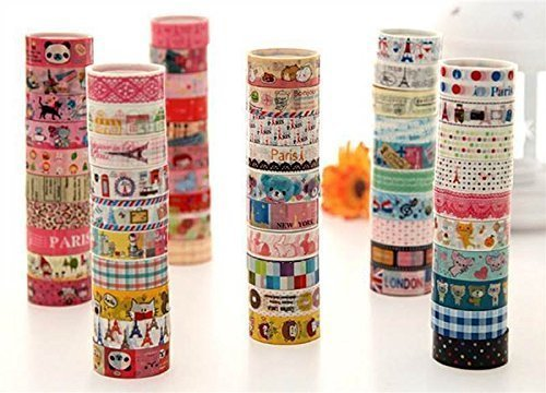 uesae Klebeband Papier Washi Tape Masker Klebeband Glitzer Aufkleber Klebeband Rolle Satinband DIY Dekorative Cute Cartoon für Kinder Studenten DIY Aufkleber Klebeband Scrapbook len3 m PCS20