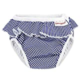 ImseVimse Badewindel Schwimmwindel, White/Blue Stripes Frill Weiss blau gestreift mit Rüschen (L 9-12kg)
