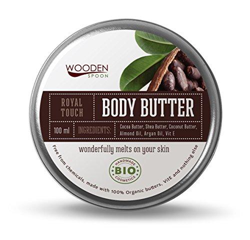 WOODENSPOON 100% natürlich Körperbutter mit Kakaobutter 'Royal Touch' 100 ml - Zertifikat SOIL ASSOCIATION ORGANIC