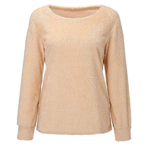 Wolle Gabardine (Damen Bluse Faux Pelz Mantel MYMYG Sweatshirt Damen Rundhalsausschnitt Winter Warm Wolle Baumwolle Bluse Sweatshirt(GelbEU:42/CN-2XL))