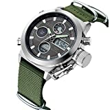 Mens Sport Digital Analogue Quartz Watches for Men Olive Canvas Military Chronograph Waterproof Wrist Watch