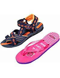Indistar KRS Men Sandal And Step Care Flip Flop And House Slipper For Women -Set Of 2 Pairs - B072L6ZPKN