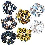 Cheveux Srunchies, 7 Style élastique Cheveux Bandes pour filles/femmes, motif fleurs Cheveux Nœud en mousseline Queue de cheval support, coloré Chouchou élastiques à cheveux doux