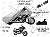 #9: Volga Silver Bike Body Cover With Mirror Pocket For Bajaj Pulsar 220