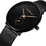 Herren Quarz Uhren Minimalistische Analoganzeige Datum Armbanduhr mit Milanese Mesh Edelstahl Gold