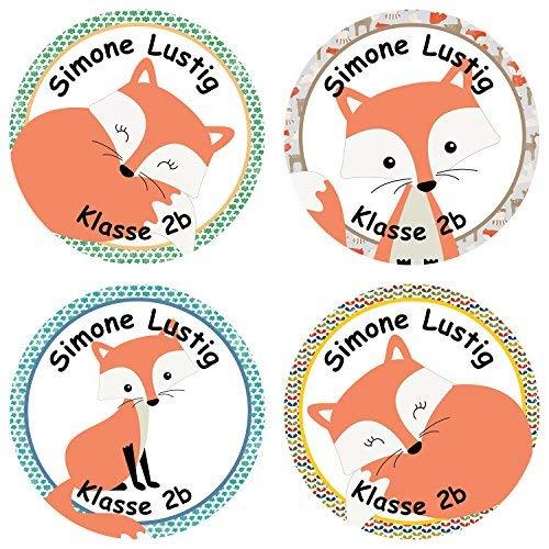 Papierdrachen 24 individuelle Aufkleber für Kinder - Motiv Fuchs - personalisierte Sticker - Schule Einschulung