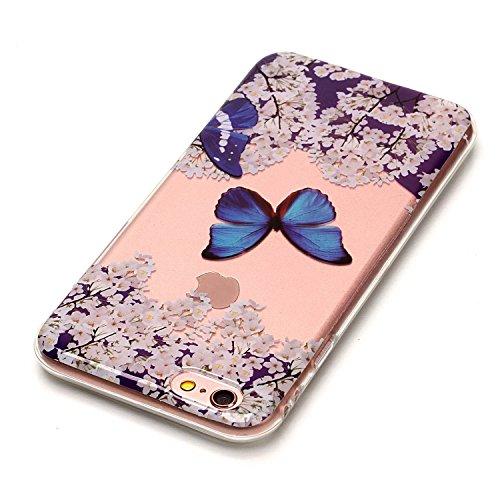 iPhone 6 / 6s Hülle, E-Lush TPU Soft Silikon Tasche Transparent Schale Clear Klar Hanytasche für iPhone 6 / 6s Durchsichtig Rückschale Ultra Slim Thin Dünne Schutzhülle Weiche Flexibel Handyhülle Krat Blauer Schmetterling