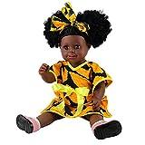 ZZSQ Indien Style Peau Noire Vinyle Silicone Simulation Dur 18inch 45cm étanche Jouet Orange Fille Reborn Bébé Bain Poupée avec Les Yeux acryliques Baby Doll Cadeau de Noël,Reborndolls06
