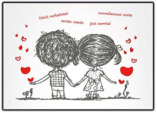 Kartenversand24 Ballonflugkarten zur Hochzeit - 50 Stück - Gelocht, schöne Leichte Ballonkarten mit Herz-Motiv für Einen Weiten Flug im Postkarten-Format für Luftballons und Herzluftballons