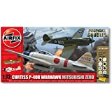 Airfix A50127 Dogfight Doubles Curtis P-40 Warhawk and Mitsubishi Zero 1:72 Scale Plastic Model Gift Set