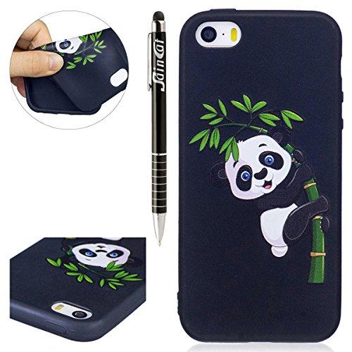 Custodia iPhone 5S, SainCat Custodia Ultra Slim Morbida Gomma TPU Protettiva Anti Scivolo Cover per iPhone 5/5S/SE-Bamboo Panda