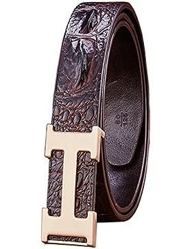 Menschwear Mens Geniune Leather Belt Slide Buckle Adjustable 38mm
