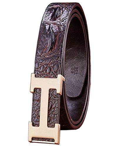 Menschwear Herren Echtes Büffel Leder Gürtel mit Schlupf Schnalle Jeans Hose Gürtel Voellig verstellbar 38mm kaffee (Denim-schlupf)