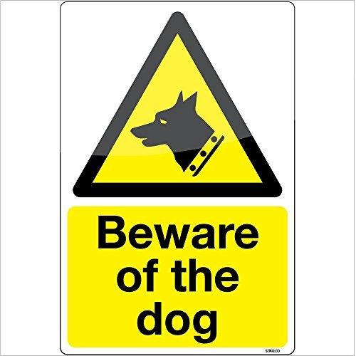 attenti al cane adesivo di avvertenza segno di vinile decalcomania 100x150mm