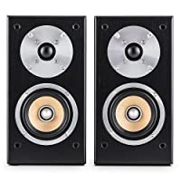 Auna Line 501-BS-BK Pair of Passive Bookshelf Speakers (50W RMS, 4