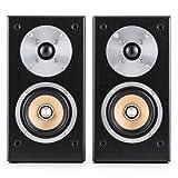 auna • Linie 501 BS-BK • Regallautsprecher • Lautsprecher-Boxen • HiFi-Boxen • Lautsprecher-Paar • 2-Wege-System • 10cm (4