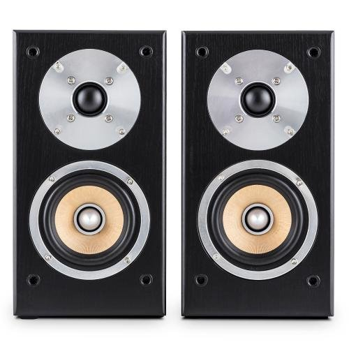 Auna Linie 501BS Paar Lautsprecher Regal-Lautsprecher Passive (Technologie A 2Wege, Midrange von 10cm und Hochtöner von 2.5cm, 50Watt RMS)–Schwarz