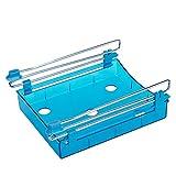 XMDZ Ausziehbar Schublade Aufbewahrung für Kühlschrank Küchenschrank Untertisch Schreibtisch Transparent Unter Regal Organizer 2er Set Blau