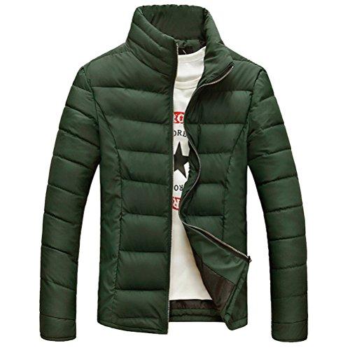 Zhuhaitf Manteaux Men's Stand Collar Winter Jacket Coat Warm Outwear Windbreaker Jacket Solid Color green