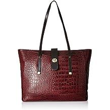Hidesign Women's Handbag (Red and Brown)