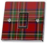 stika.co Autocollant en Vinyle pour Interrupteur d'éclairage, Motif de Tissu écossais Rouge
