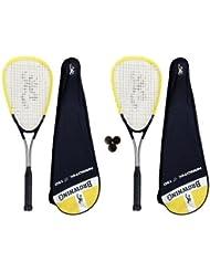 Browning Nanotec Ti 150 - Juego de 2 raquetas de squash, incluye 3 pelotas de squash Dunlop