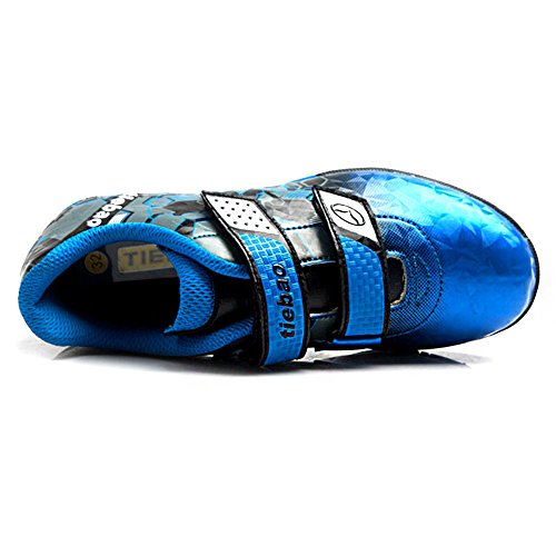 Tiebao Enfant Junior Garçons Cool Plusieurs Couleurs Sol Dur Boucle&Crochet Chaussures de Football Bleu